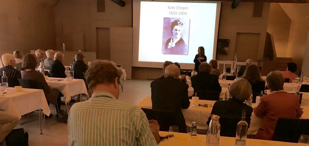 Gerri Chopin-Wendel speaks to the Kate Chopin symposium in Bremen, Germany, on July 8, 2016.